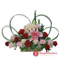 Rose and Lily Semi Flower With Bear