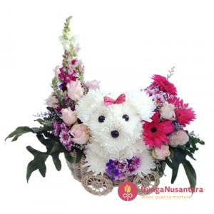 Puppy in basket Flower Cute Bouquet